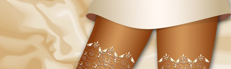 white patterned stockings on the legs of a young beautiful charming woman on the background of coffee milk silk sheets Vector