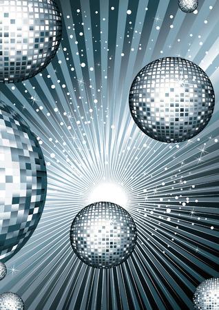 Disco bal met metalen siribryastoho Kleur gespiegeld reflecties van licht op heldere glanzende achtergrond met reflecties