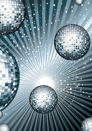 Disco ball with metallic siribryastoho Color mirrored reflections of light on bright shiny background with reflections Vettoriali