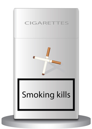Smoking kills a pack of cigarettes on which the image of cigarettes a cross and signed hut kills