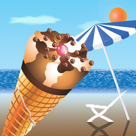 aciculum: cool refreshing ice cream cone classic fruit in a crispy waffle cup on the beach with benches and umbrellas