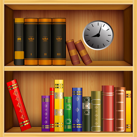 diverse books on wooden shelves and gray with creative hodynykom shelf Vector