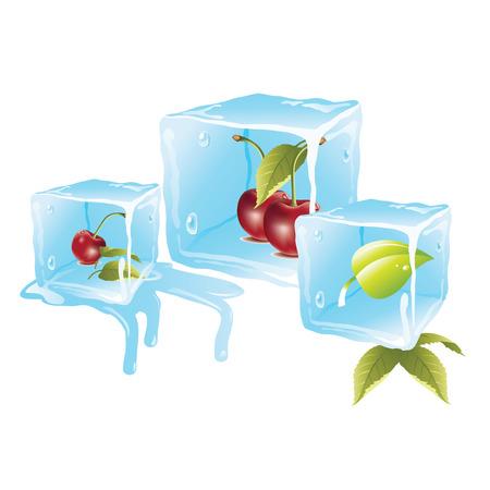 Juicy red delicious cherries in bluish ice cubes Vector
