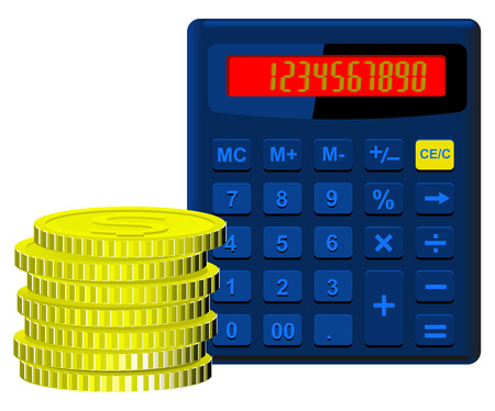 us paper currency: Calculator blue on the dial which covers the numbers from one to nine and zero and money in the form of golden coins stacked in a pile