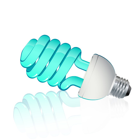 compact fluorescent lightbulb: Fluorescent light blue with light blue and silver frame svitinyam