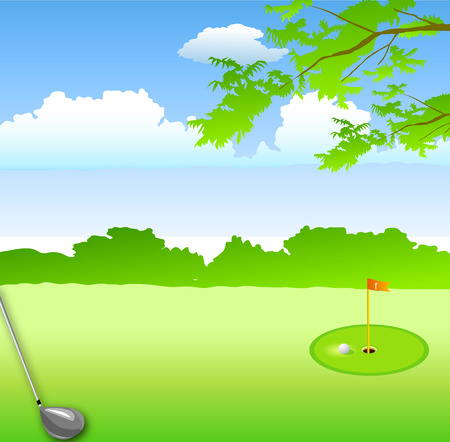 in summer green landscape hole golf course and golf club metal Vector