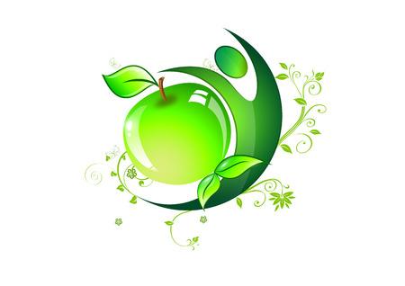 símbolo de la alimentación saludable o la dieta fitnysu Sports deliciosa manzana verde con hojas y mariposas y los deportistas