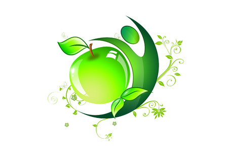 symbol of healthy eating or diet fitnysu Sports delicious green apple with leaves and butterflies and sports persons