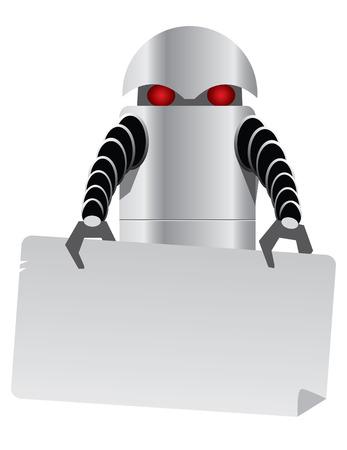 digitized: Tableta Robot de color siribryastoho ojos rojos en buenas manos la celebraci�n de una mesa para un cuadro de texto