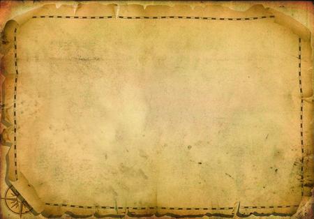 書き込み用のスペースを持つ古代の羊皮紙に古いナビゲーション、地図