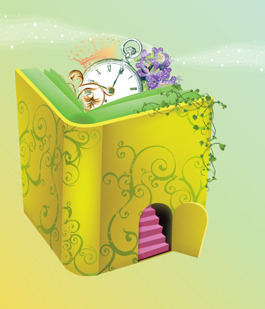 nursery tale: Fantasy Book Software steps to the mountain in the binding and flowers that grow on it though, and kaskovym hodynykom and crown