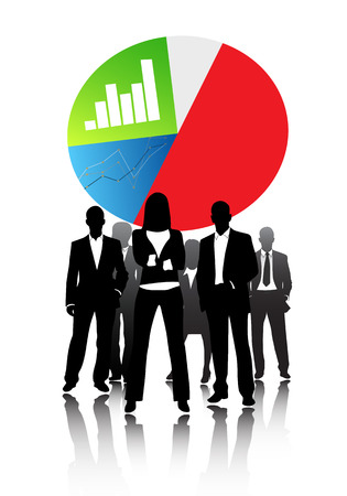 business economics characters graphs bar graphs and successful business people Vector