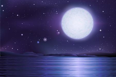 La pleine lune et le vecteur de ciel étoilé ancien lac du lac antique sous une pleine lune et les étoiles Banque d'images - 29115351