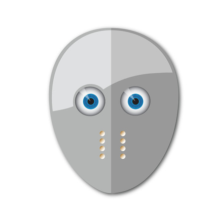 Gray hockey mask with holes for breathing and with holes for the eyes as the eyes Vector