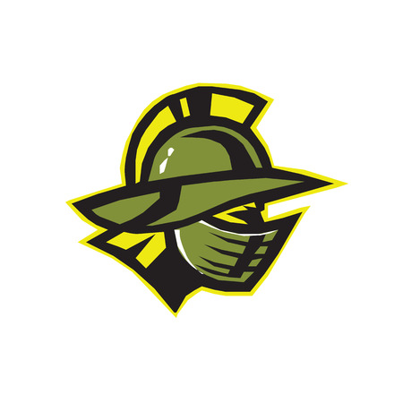 period costume: symbol of strength and sport gladiator gladiator helmet in golden colors