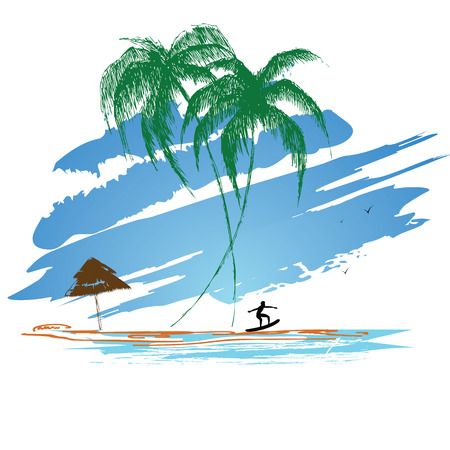 Summer Surfing for hvmlyah blue ocean and beach with palm trees Vector