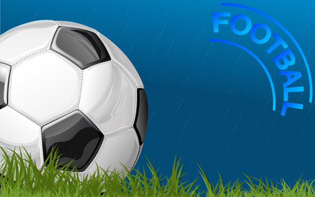 non moving activity: Football in the rain that hurts wet match ball and players are rain will not stop Illustration