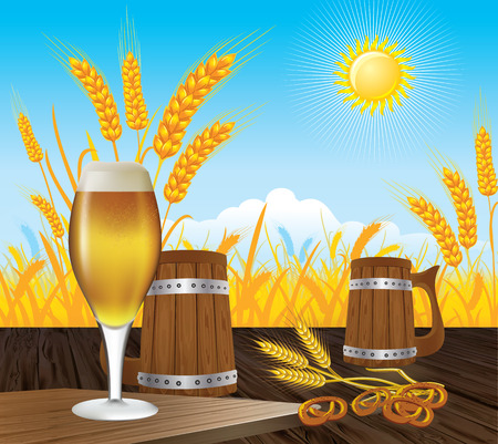 beer glass mug landstsape and wooden mug of beer on a wooden table on a background of wheat fields and sunny blue sky Vector