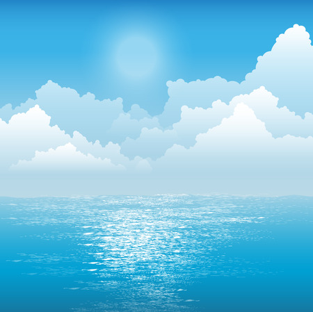 high angle view: summer blue sky with light white clouds as piryinky among which hot yellow sun let his playful rays of cool blue ocean