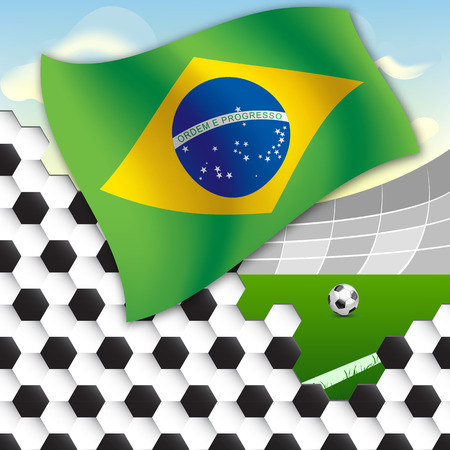 spherule: Flag of Brazil against the backdrop of the stadium football field and the ball Illustration