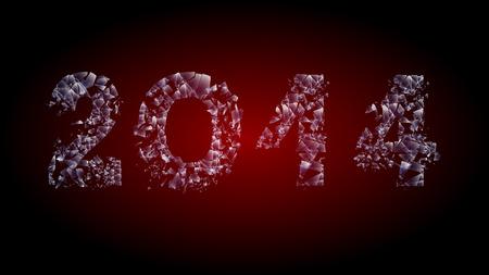inscription broken glass 2014 calendar two zero one four in the texture of broken glass Vector