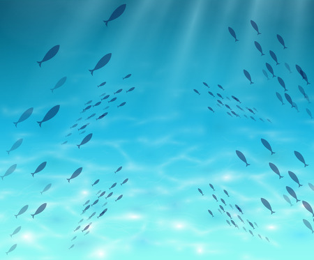 Underwater world Fish blue ocean abyss through which pass sunlight with fish