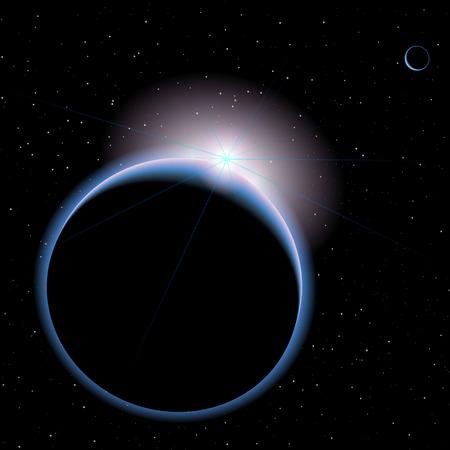 gran angular: planeta azul en el espacio pitmi dalychie paloma planeta en forma de media luna espacio iluminado del brillo de la fuente se oculta y apenas se levanta sobre andfor gran planeta en el primer plano Vectores