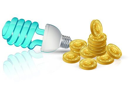 breaking new ground: save light golden coins with dollar sign cent and blue light energy preserving Illustration