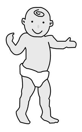 baby in diapers with confidence boldly stands on its feet Vector