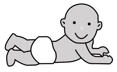 cheerful baby lying in a comfortable white diaper