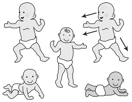 15 18: funny baby in various poses and konfortnyh white diapers