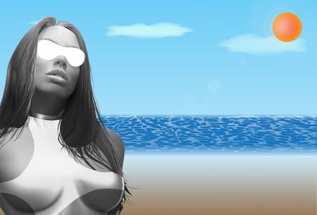 woman lying down: beautiful girl in sunglasses on the beach Illustration