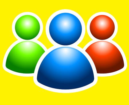 gran angular: tres peque�os hombres en colores verdes, azules y amarillos Vectores