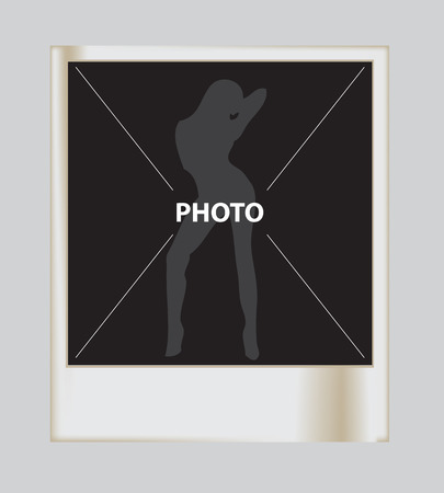 side viewing: silhouette of a beautiful sexual girl photo Illustration