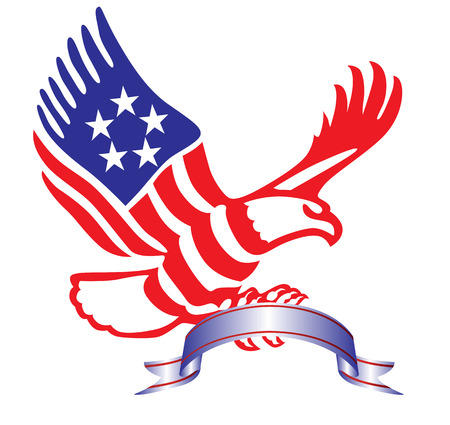 bald head: American eagle with Ribbon in patriotic colors Illustration