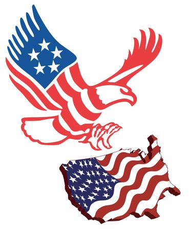 American map flag guarding amerekanskyy eagle in patriotic colors Vector