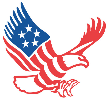 American eagle in the patriotic colors on the fly Illustration