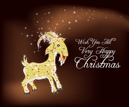christmas sheep goat in an abstract image of stars in 2015 Vector