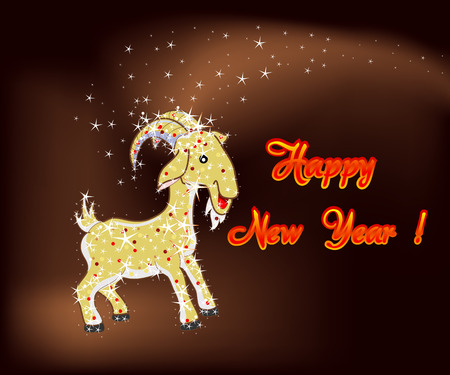 happy new year 2015 abstract goat sheep in the form of stars Vector