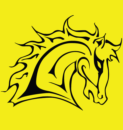 black stencil head horse on a yellow background