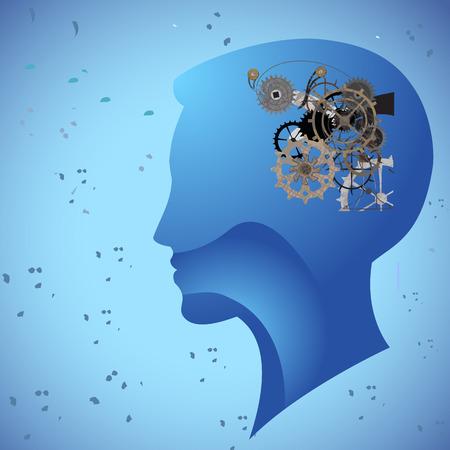 기계 기계 마음의 생각의 머리를 생각 일러스트