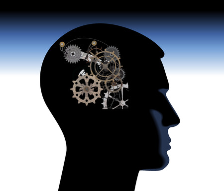 abstract thinking mechanical mechanical mind thoughts head Vector
