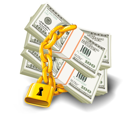 paper chain: dollar paper money under lock and key with gold chain