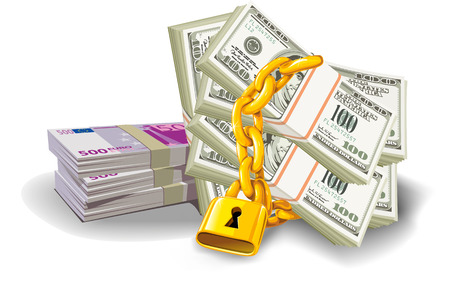 4 door: paper money euro dollar at gold lock with chain Illustration