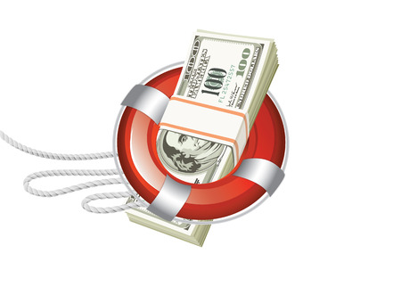 lifeline with a strong marine rope bundle of dollars which passes through the circle tsenter Vector