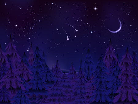 mysterious night of Christmas pine forest under a starry moonlit sky