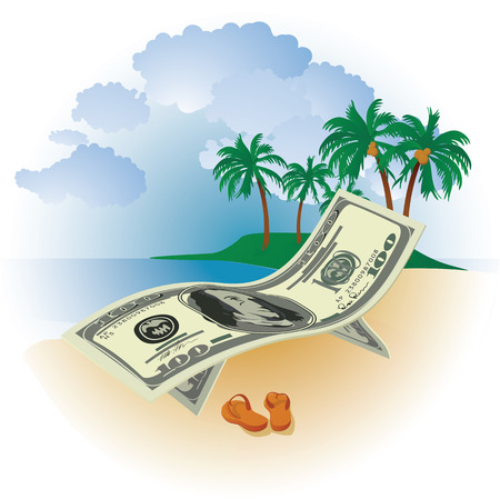 getting away from it all: hundred dollar bills on a background of the sea beach and palm trees with coconuts