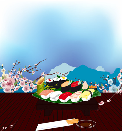 main group: tray of sushi and Japanese spices on the table in the Japanese room with mountain views and Sakura