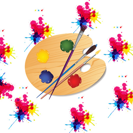 three colored: paint brushes for mixing board and selection of paint colors Illustration