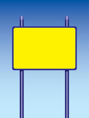 straight path: big yellow road sign two racks